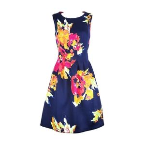 VINCE CAMUTO Floral Fit & Flare Pleated Dress 8